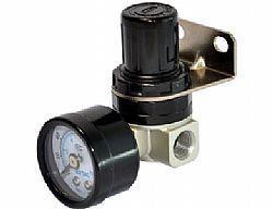 Regulador de ar miniatura c/ manômetro de 1/4 polegada